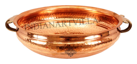 Copper Hammered Design Urli Water Pot Container