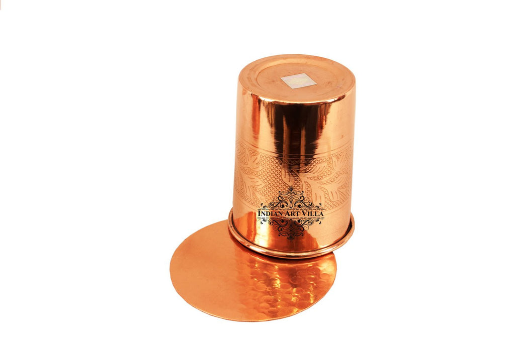 Copper Embossed Design Glass Tumbler with Coaster 300 ML
