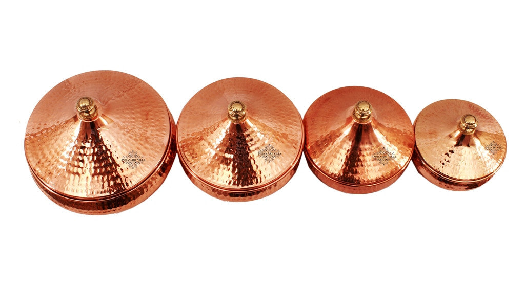Steel Copper Set of 4 Serving Mughlai Handi with Lid