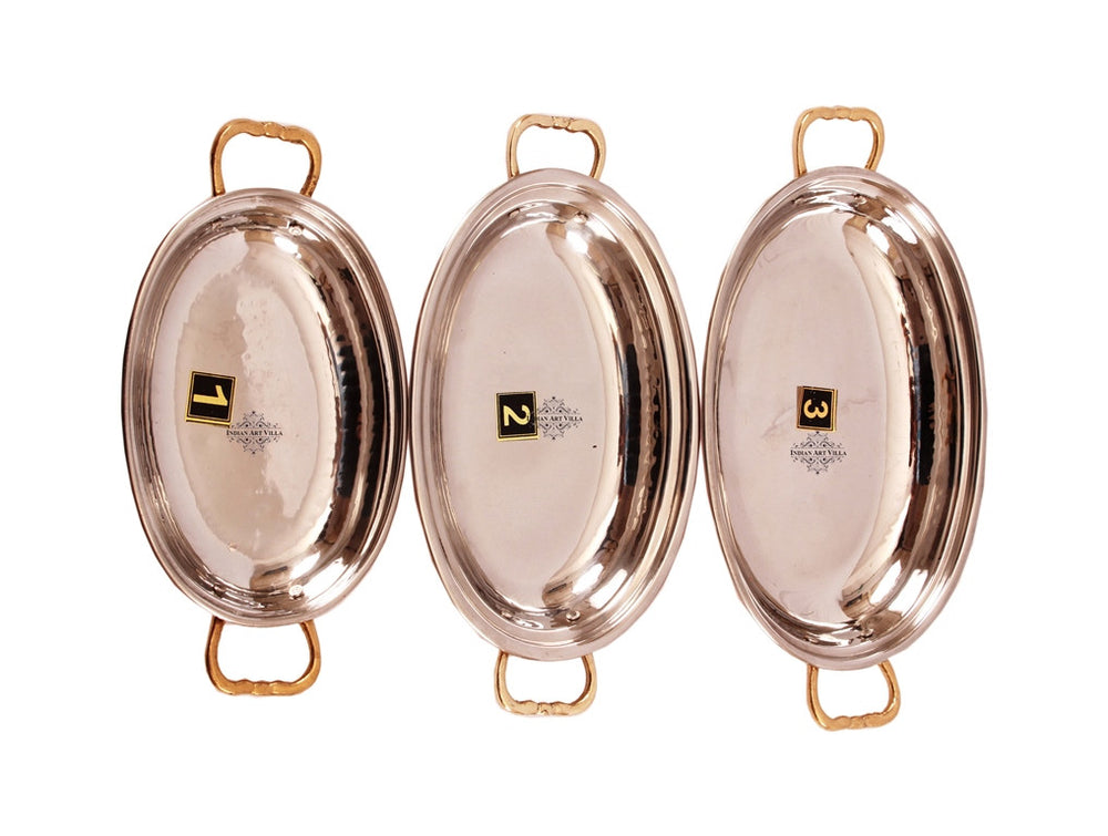 Steel Copper Set of 3 Oval Serving Platter Plate with Brass Handle