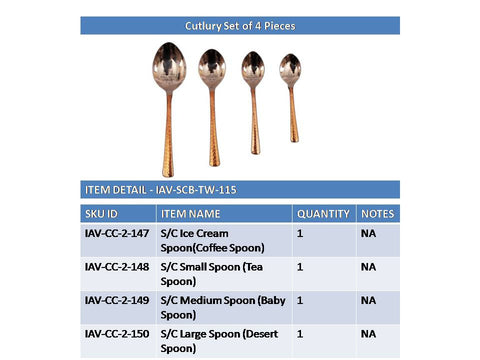 Steel Copper Cutlery Spoon, Dinnerware & Tableware Set, Set of 4
