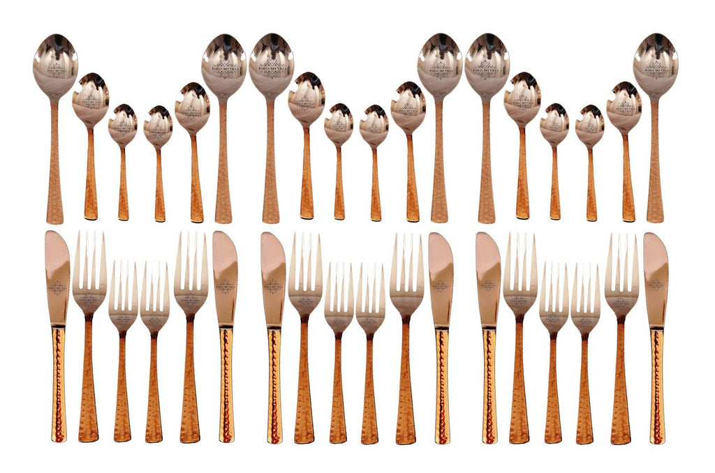 Steel Copper Cutlery Set (18 Spoons with 12 Forks & 6 Knives), Tableware & Dinnerware Set, 36 Pieces