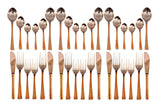 Steel Copper 18 Spoons with 12 Forks & 6 Knives 36 Pieces