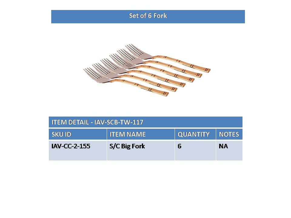 Steel Copper Set of 6 Designer Cutlery Fork