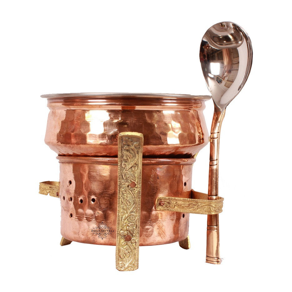 Copper Brass Sigri with Steel Copper Serving Handi & Spoon
