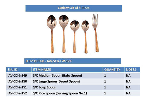 Steel Copper Cutlery Set, Tableware & Dinnerware Set, 5 Pieces