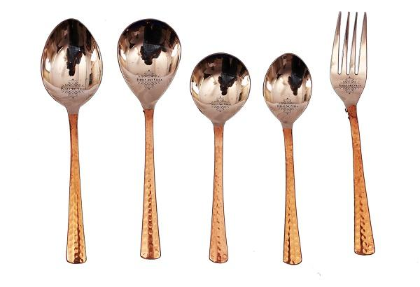 Steel Copper Designer Cutlery Set 5 Pieces