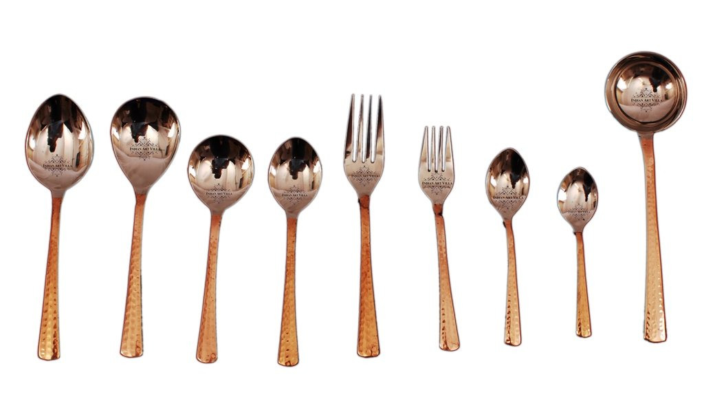 Steel Copper Designer Cutlery Set 9 Pieces
