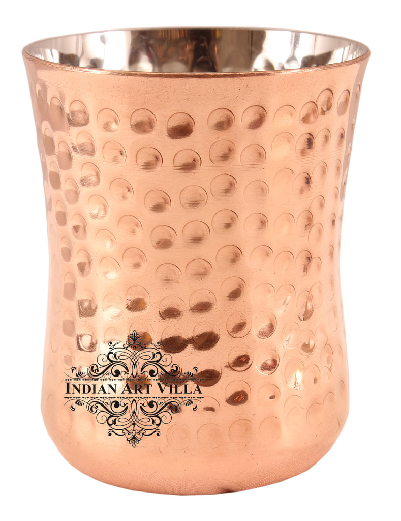 Steel Copper Hammered Design Glass Goblet 250 ML Set of