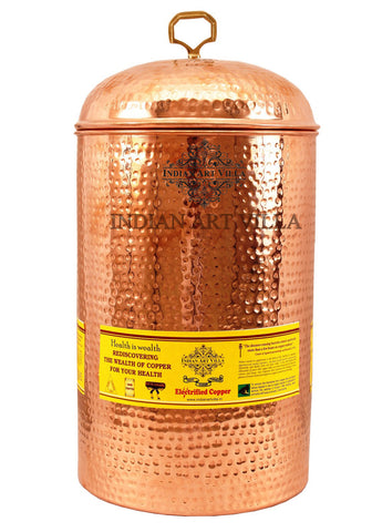 Copper Hammered Design 12 Liter Storage Pot