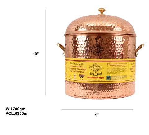 Copper Hammered Storage Pot Container 6300 ML