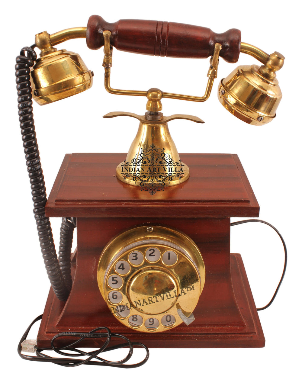Wooden Brass Vintage Style Rotary Dial working Phone