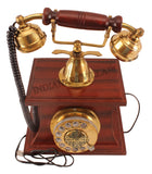 Wooden Brass Vintage Style Rotary Dial Phone 100% in Working Condition