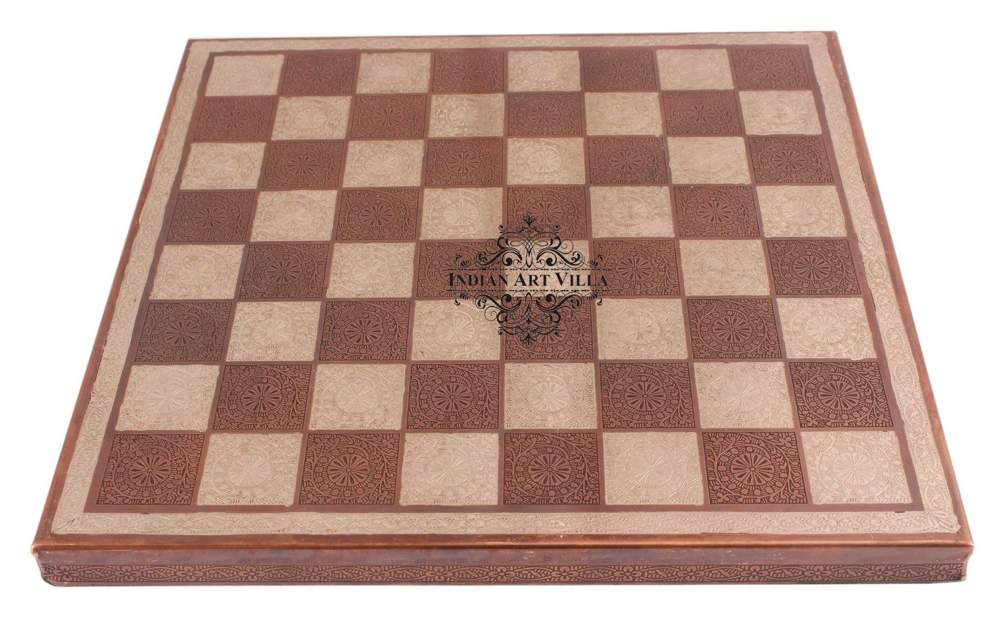 Brass Chess with Realistic Piece (Brown + Silver)