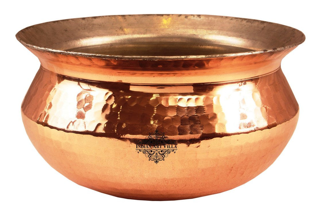 Copper Hammered Design Handi with Inside Tin Lining