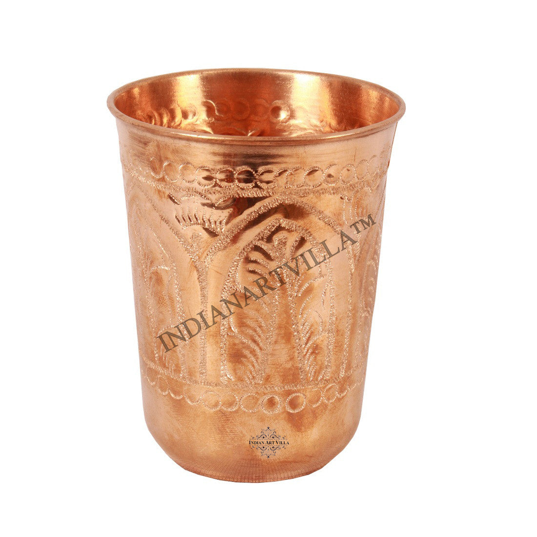 Copper Regular Leaf Design Glass Tumbler 350 ML
