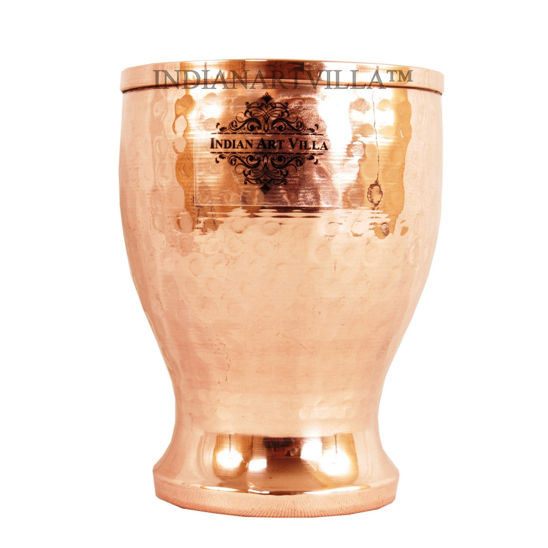 Copper Hammered Design Glass Tumbler Cup 350 ML