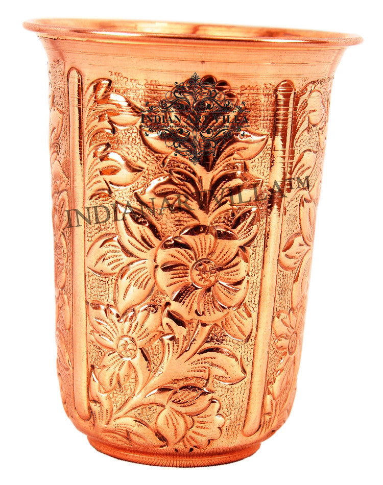 Copper flower Design Glass Tumbler 325 ML