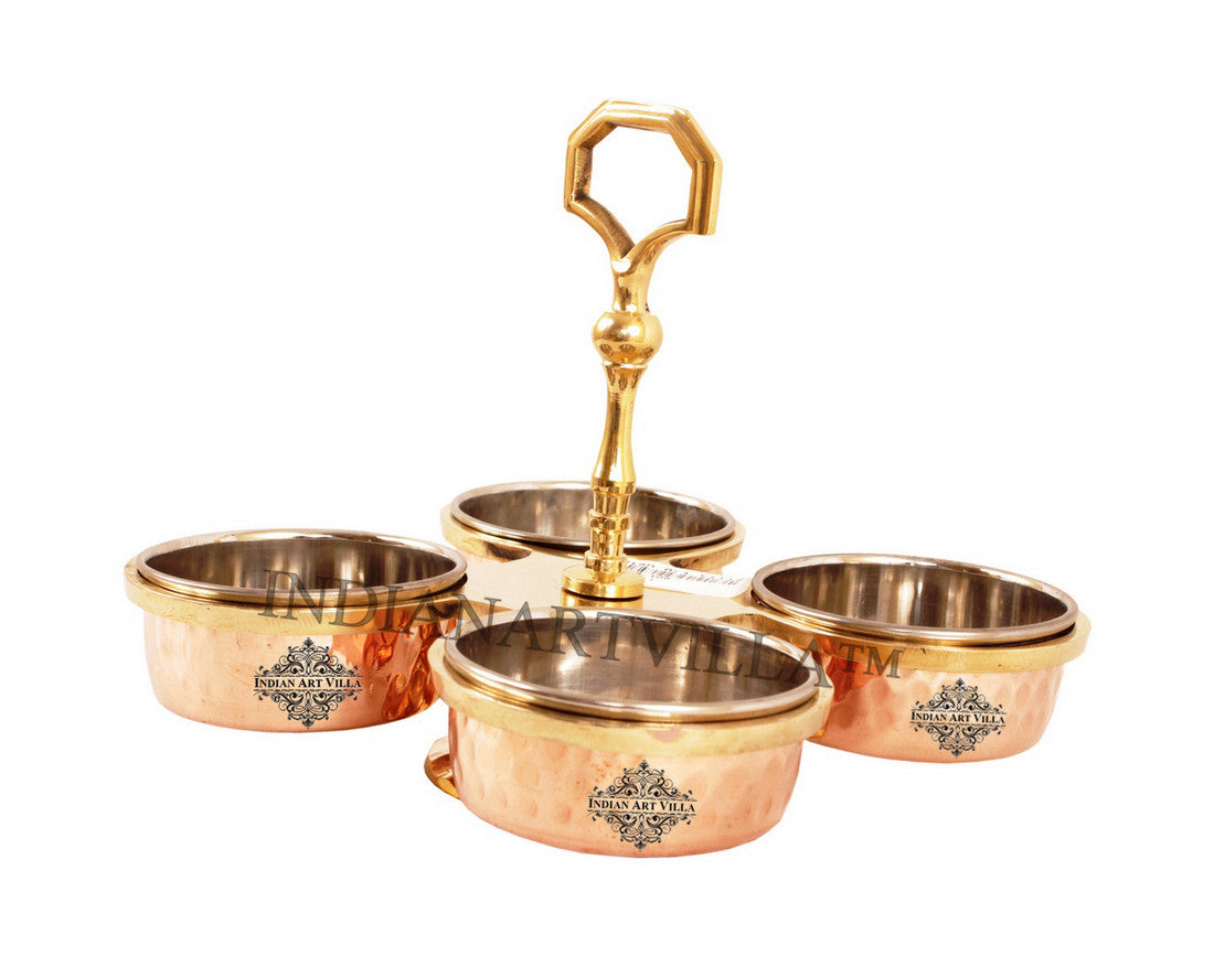 Steel Copper Pickel Set of 4 Bowl Compartment