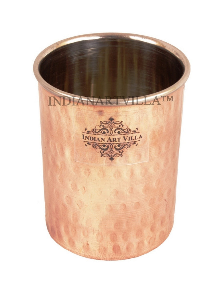 Steel Copper Handmade Hammered Design Glass Cup 300 ML