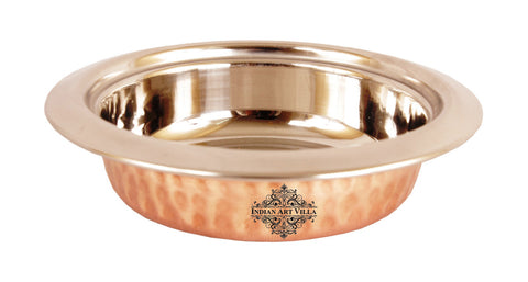 Steel Copper Hammered Design Round Entrée