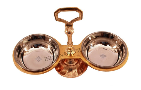 Steel Copper 2 Bowl Compartment Condiment Pickle Set