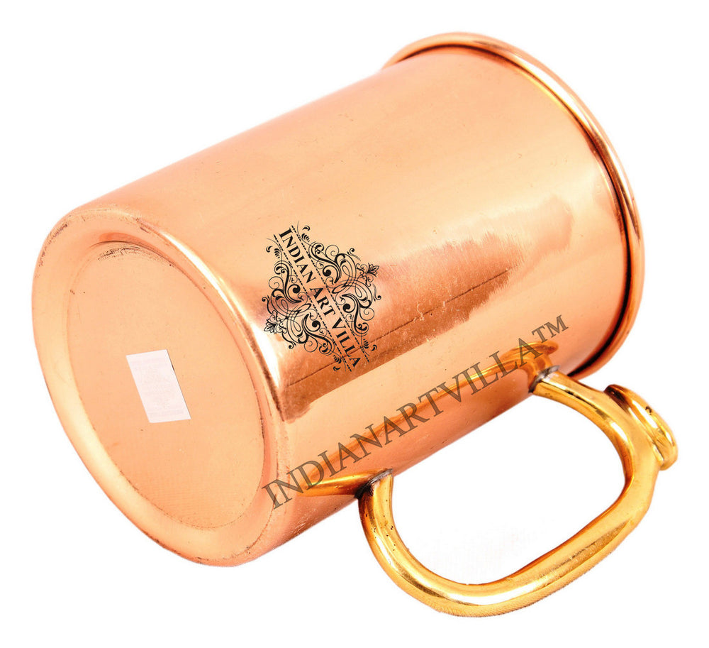 Copper Plain Design Mug With Brass Thumb Design Handle 530 ML