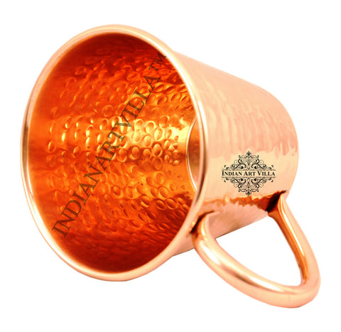 IndianArtVilla Pure Copper Big Top Hammered 400 ML Moscow Mule Cup