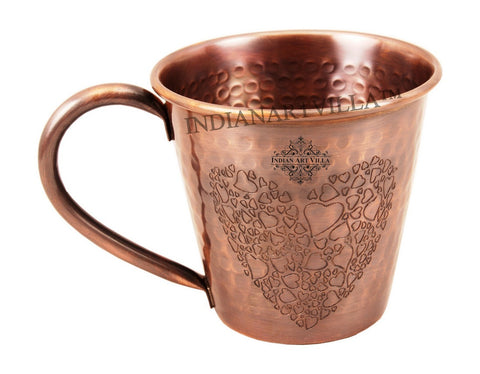 Heart Design Pure Copper Hammered Moscow Mule Mug 400 ML