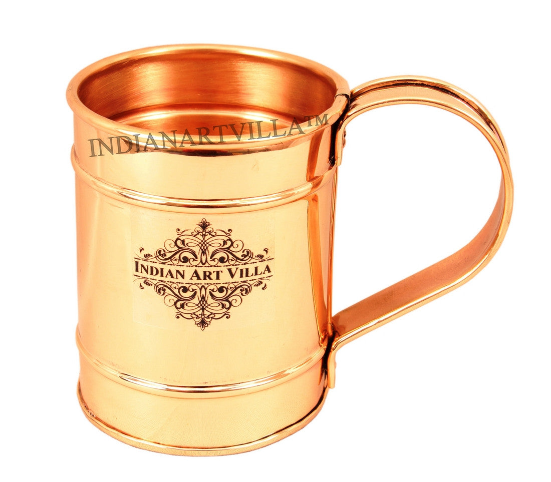 Copper Long Flate Mug with 2 Ring -500 ML