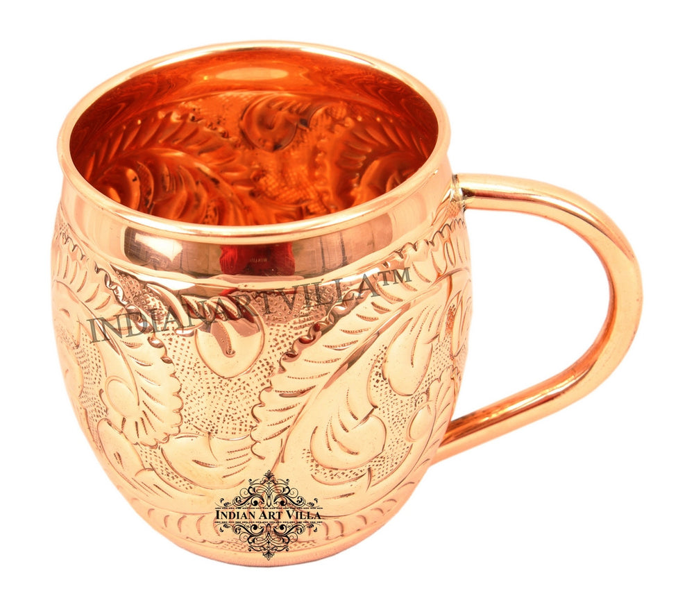 Copper Flower Design Round Mug - 450 ML