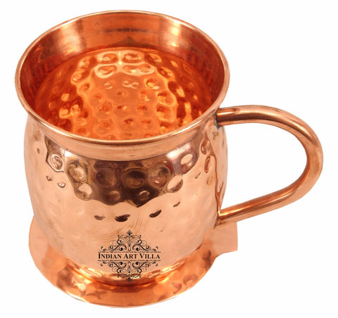 Copper Hammered Design Big Top Beer Mug with Coaster