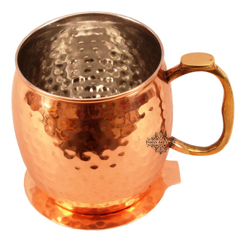 Round Hammered Copper Nickel Moscow Mule Mug Cup with Coaster, Barware & Drinkware Set, 530 ML