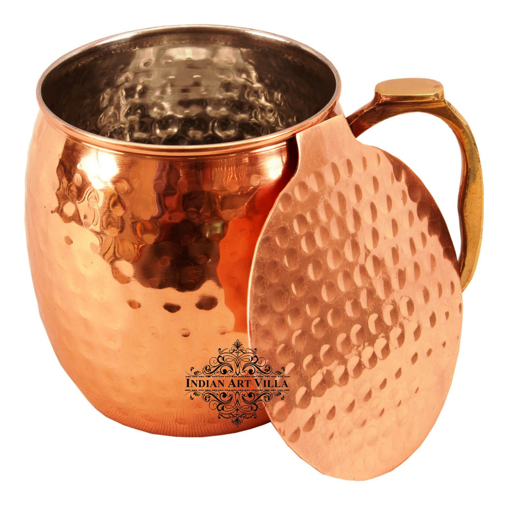 Copper Nickel Hammered Design Round Mug & Coaster|530 ML