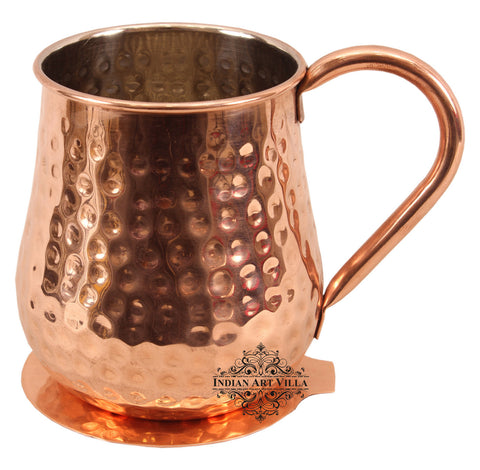 Round Hammered Copper Nickel Moscow Mule Mug Cup with Coaster, Barware & Drinkware Set, 600 ML