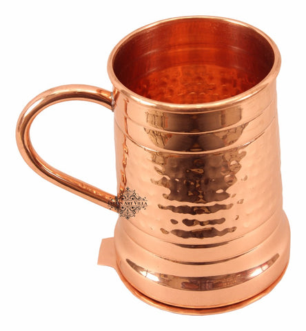 Copper Hammered Design Big Moscow Mule Mug with Coaster