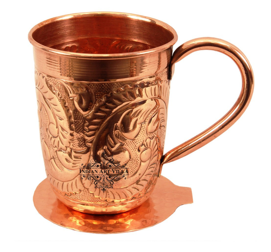 Copper Flower Design Long Beer Mug Cup 450 ML with Coaster