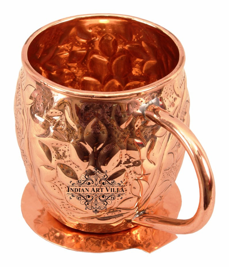 Copper Flower Design Round Beer Mug Cup 450 ML with Coaster