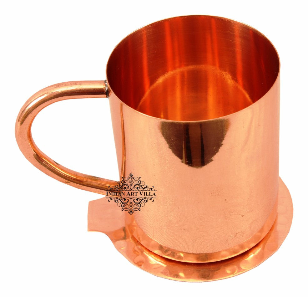 Copper Plain Mug Moscow Mule Cup 350 ML with Coaster