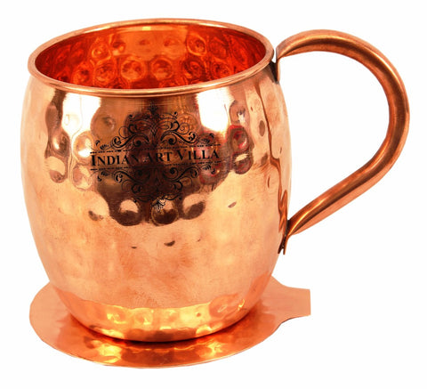 Copper Hammered Beer Mug Cup with Coaster - 530 ML