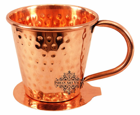 Copper Hammered Design Big Top Mug Cup 400 ML with Coaster