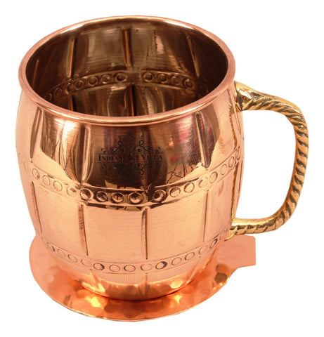 Designer Copper Nickel Beer Mug Cup with Coaster, Drinkware Set, Protects From Germs, 630 ML