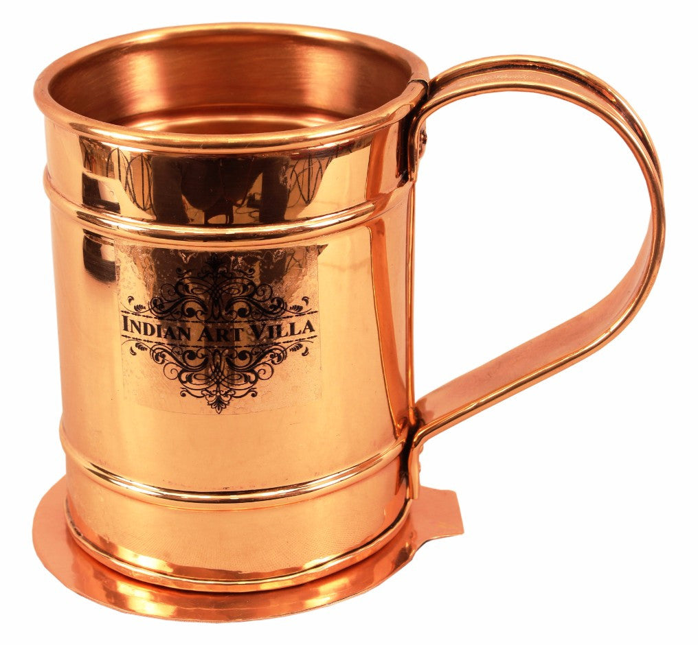 Copper Long Flat Mug Cup 500 ML with Coaster
