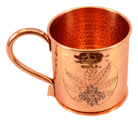 Flower Design Copper Beer Mug Cup with Coaster, Drinkware Set, Protects From Germs, 500 ML