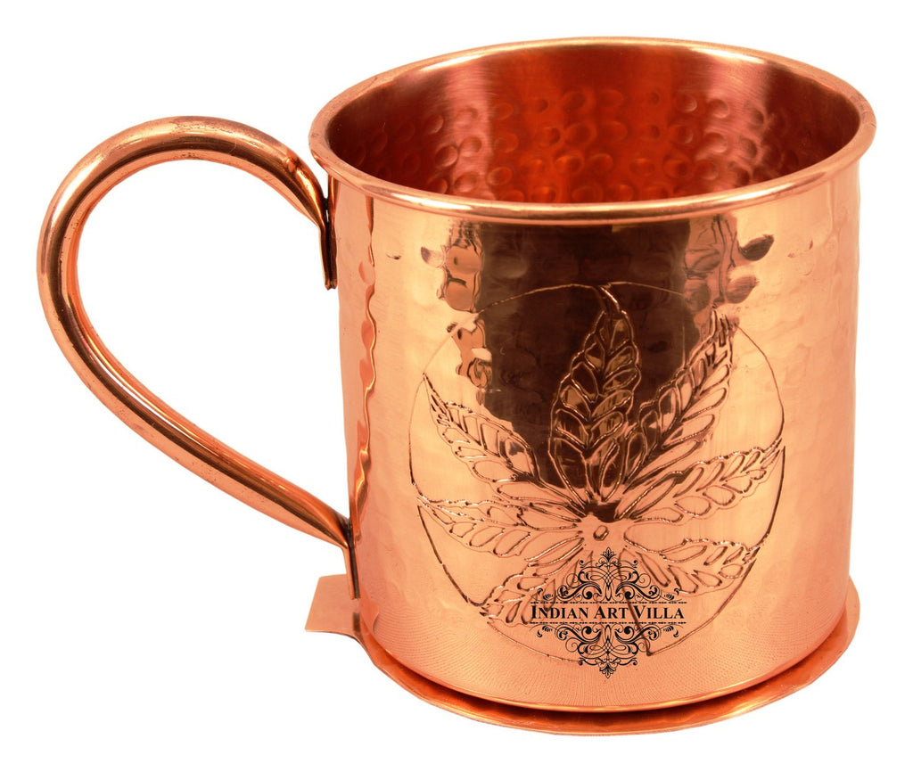Copper Flower Design Beer Mug Cup with Coaster-500 ML