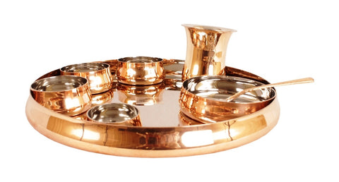 Steel Copper Design 8 Pieces Dinner Set