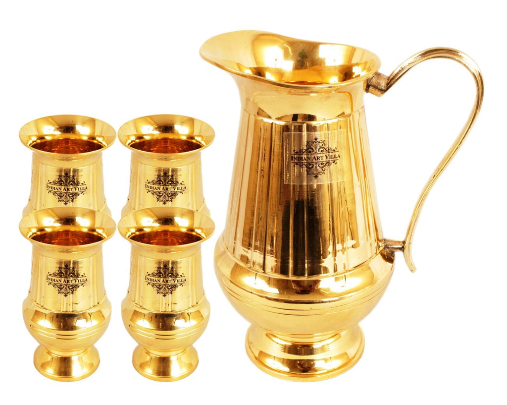 Vertical Linning Brass Jug Pitcher with Glass Tumbler, Drinkware & Tableware Set, 5 Pieces