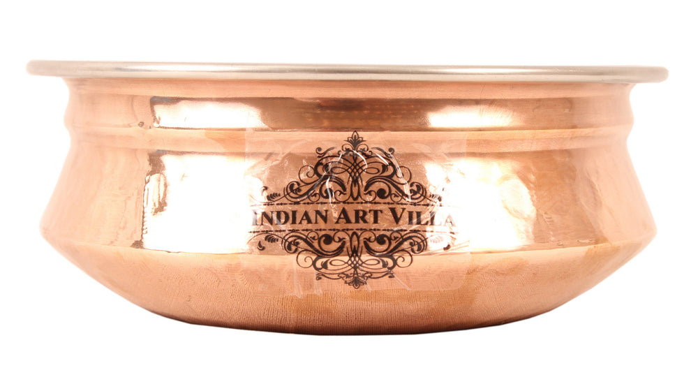 Steel Copper Handi with Platter & Serving Spoon
