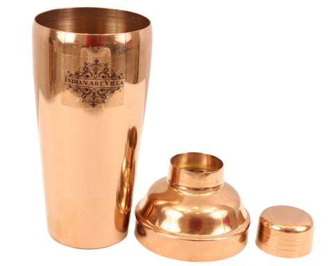 Copper Wine Cooler with Steel Wine Shaker & 2 Copper Brass Champagne Glass Tumbler, 4 Pieces