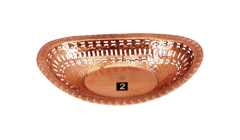 Steel Copper Casserole Donga with Copper Bread Basket